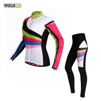 WOSAWE Womens Cycling Jersey 4D Padded Pants Set, Rainbow, Size M