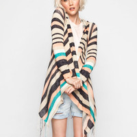 Full Tilt Stripe Womens Fringe Hooded Wrap Sweater Multi  In Sizes
