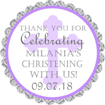 "Christening or Baptism Stickers Or Favor Tags - 2.5"" Round"