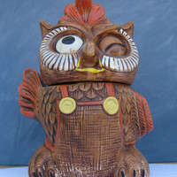 Vintage Winking Farmer Brown Owl Cookie Jar by ThatsClassicVintage