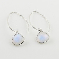 Moonstone Sterling Silver Pear Earrings
