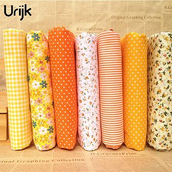 Urijk 7PCs/set 25x25cm DIY Patchwork Fabrics For Sewing The Cloth Baby Quilting Cotton Fabric For Needlework Kid Bedding Textile