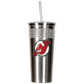 NHL New Jersey Devils Stainless Steel Bling Tumbler with Straw