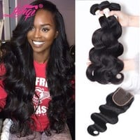 Brazilian Body Wave With Closure Remy Human Hair Weave Bundles With Closure 4 Pc/Lot Bodywave Brazillian 3 Bundles With Closure