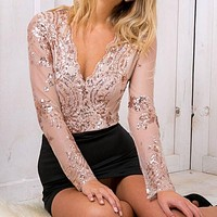 2016 new style women Sequins mesh bodysuit long sleeve halter women jumpsuit romper S-L sexy v neck black playsuit s109