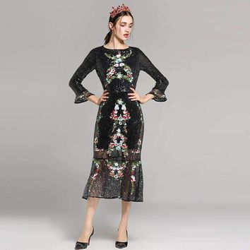 Red Roosarosee Summer New Gauze Embroidery Sequins Package Hip Flare Sleeve Fishtail Dress