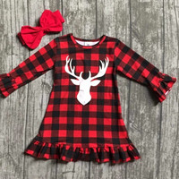Preorder-Buffalo Plaid Deer Dress