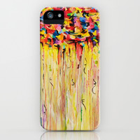 OPPOSITES LOVE Raining Sunshine - Bold Bright Sunny Colorful Rain Storm Abstract Acrylic Painting iPhone & iPod Case by EbiEmporium