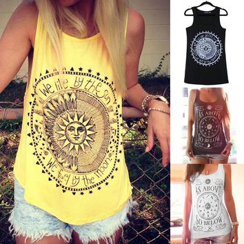 New Arrival Summer Cotton Female Crop Tops Print Artistic Geometric Vest Sexy Fashion Sleeveless Women Blouse T Shirt 4 Sizes