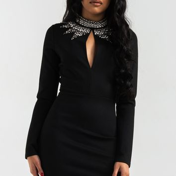 AKIRA Sexy Mini Long Sleeve Dress with Embellished Collar in Black