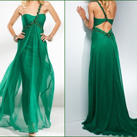 Charming Green Chiffon One Shoulder Prom Dress from dressesforsale