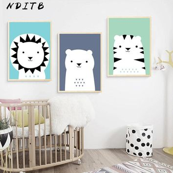 Woodland Animal Baby Nursery Wall Art Canvas Posters Prints Cartoon Painting Nordic Kids Decoration Pictures Bedroom