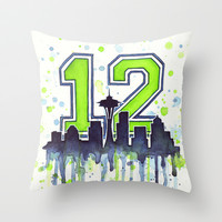 Seattle Seahawks 12th Man Fan Art Throw Pillow by Olechka