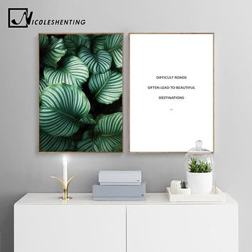 NICOLESHENTING Green Plant Leaf Wall Art Canvas Posters Quotes Prints Nordic Painting Wall Picture for Living Room Home Decor