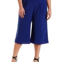 Plus Size Blue Pleated Culottes by Charlotte Russe