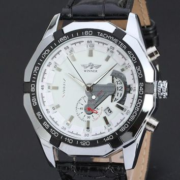 Mechanical Watch Skeleton Leather Case Male Clock Black Leather Strap Hand Wind Casual Men Wristwatches (white  Black)