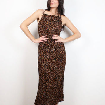 Vintage 90s Dress Leopard Print Midi Dress Brown Black Gold Animal Cheetah Print Sleeveless Sundress 1990s Soft Grunge Dress Hipster S Small
