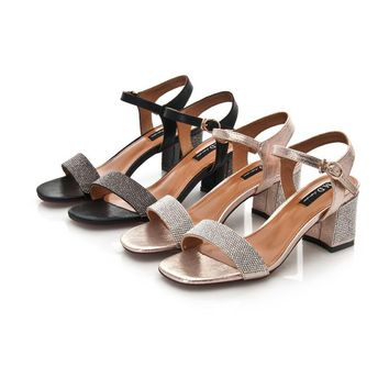Women Summer All-match Fashion Rhinestone Ankle Strap Open Toe Sandals Block Heels Shoes