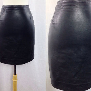 Vintage 80s FIRENZE Santa Barbara Leather Punk Rock High Waisted Black Skirt Sz 4