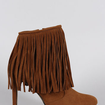 Almond Toe Fringe Suede Stiletto Heeled Booties