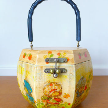 Vintage Strawberry Shortcake decoupage wood handbag