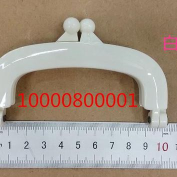 Free Shipping-6PCs White Colour Bead Purse Bag Plastic Frame Kiss Clasp Lock Handle 10cm DIY Handmade Bag Parts AccessoriesJ2552