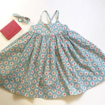 Girls sundress , blue with pink rosebuds to fit 18 - 24 months old
