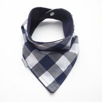 Baby Bandana Bib Scarf in Navy And White Buffalo Plaid Cotton with Snap Closure for Boy or Girl