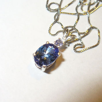 Genuine 1.35 ct. Tanzanite Necklace in Sterling silver