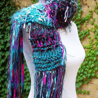 Fringy Funky Hand Knit Scarf Aqua and Purple Tones Multi Imported Fiber Extra Long Fringe Warm Fashion