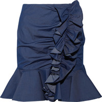 Caroline Constas - Ruffled stretch-cotton mini skirt