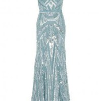 Boutique 1 - ELIE SAAB - Blue  Strappy Full Beaded Gown | Boutique1.com