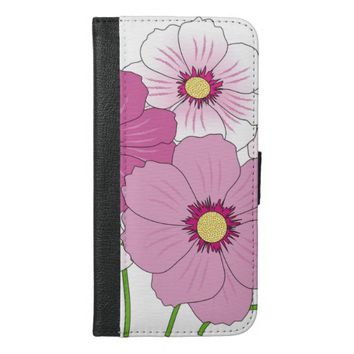 lovely pink flowers iPhone 6/6s plus wallet case