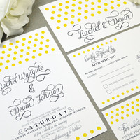 Polka Dot Wedding Invitations Yellow and Gray Wedding Pocket Set Calligraphy Wedding Invitation Suite Modern Wedding Invites Rustic Wedding