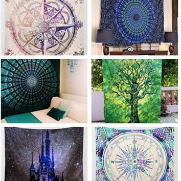 Hot Indian Elephant Mandala Flora Hippie Wall Hanging Tapestry Blanket Bedspread Throw Yoga Mat Table Cloth Home Decor 150*130cm