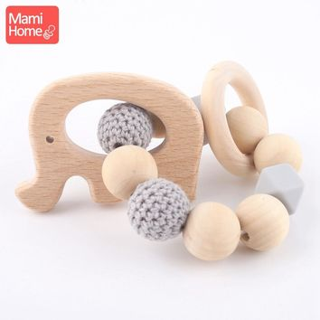 mamihome 1PC DIY Teething Wooden Bracelets Natural Elephant Wood Crochet Beads Nurse Gift Wooden Teething Toys Baby Teether