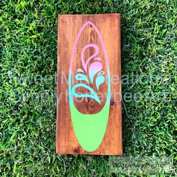 Surfboard sign, painted sign, wall decor, surfer decor, chalkpaint sign, ombre sign, home decor