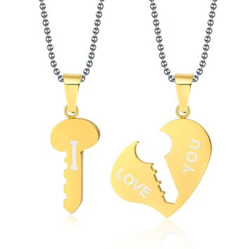 "His & Hers Matching Set Stainless Steel ""I LOVE YOU"" Valentine Couple Pendant Necklace"