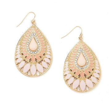 Faux Stone Enamel Drop Earrings