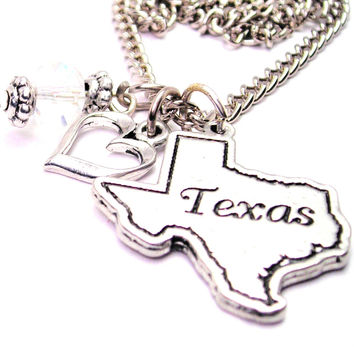 Texas State Necklace with Small Heart