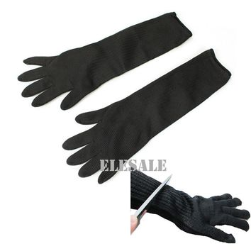 "1 Pair Black Working Safety Gloves 19"" Long Cut-Resistant Protective Stainless Steel Wire Butcher Anti-Cutting Gloves"