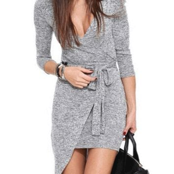 Light Gra Deep V-Neck Asymmetrical Dress with Belt