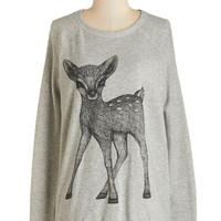 ModCloth Critters Mid-length Long Sleeve Fan of the Fawn Sweatshirt