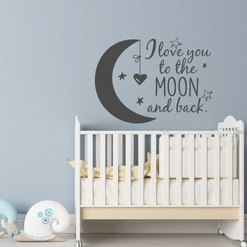 Baby Kids Bedroom Wall Stickers Moon Stars Heart Vinyl Removable Quote Decal  I Love You to the Moon and Back Home Mural SYY165