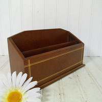 Vintage Deep Dark Brown Letter Bin with Gold Tooling & 2 Sections - Retro Chocolate Leatherette Desk Organizer - Mid Century Memo Holder