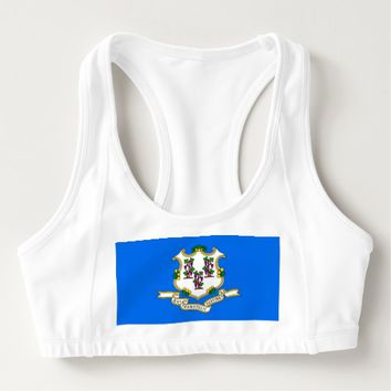 Women's Alo Sports Bra with flag of Connecticut