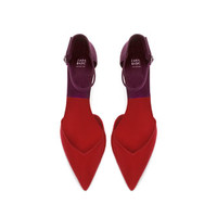 TWO - TONE HIGH HEEL COURT SHOE WITH ANKLE STRAP - High - heels - Shoes - WOMAN   ZARA United States