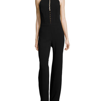 Sleeveless Ladder-Front Jumpsuit, Size: