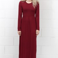 Long Sleeve Solid Maxi Dress w/ Pockets {Burgundy}