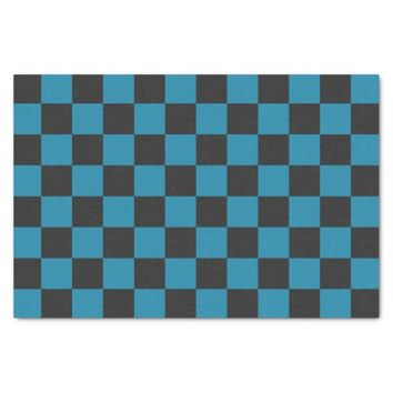 Teal Blue and Black Checkerboard Pattern Tissue Paper